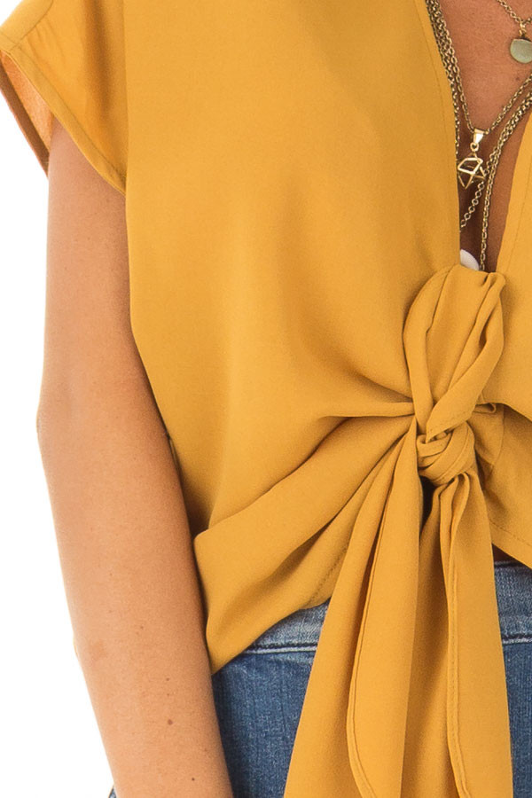Mustard Short Sleeve Front Tie Top with Gathered Shoulders front detail