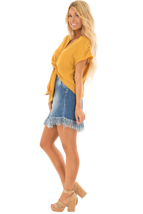Mustard Short Sleeve Front Tie Top with Gathered Shoulders side full body