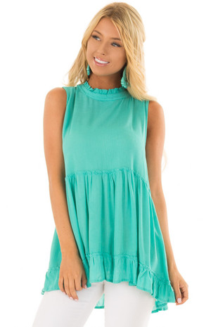Teal High Neck Tank Top with Ruffle Detail front closeup