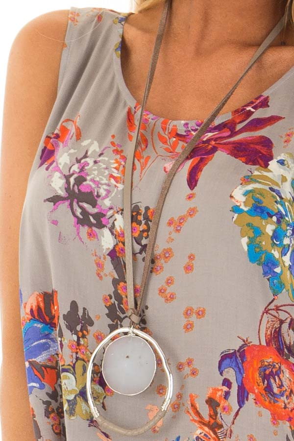 Grey Floral Print Round Neck Tank Top with Keyhole Detail front detail