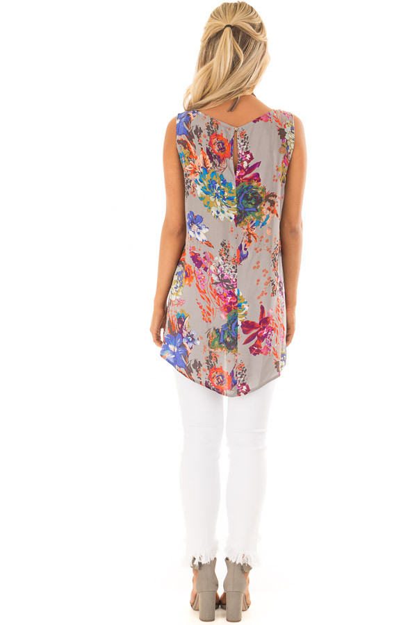 Grey Floral Print Round Neck Tank Top with Keyhole Detail back full body