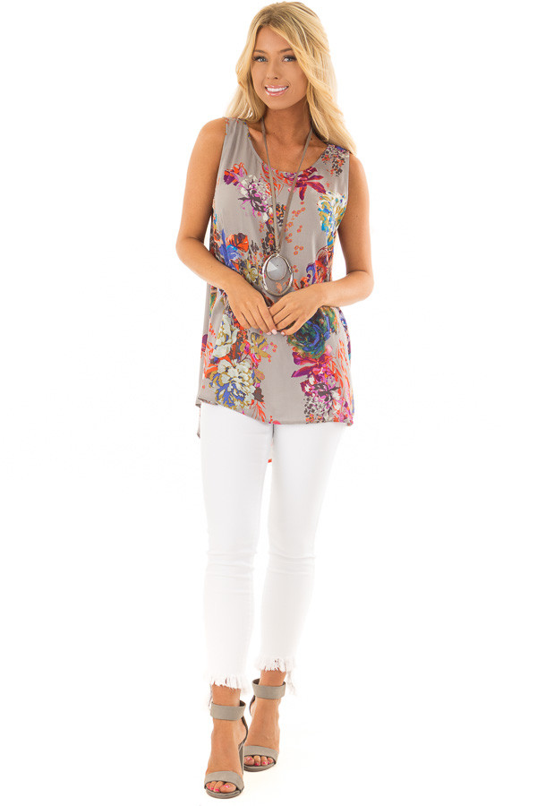 Grey Floral Print Round Neck Tank Top with Keyhole Detail front full body
