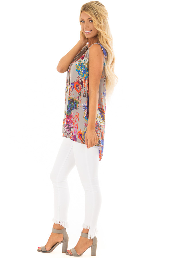 Grey Floral Print Round Neck Tank Top with Keyhole Detail side full body