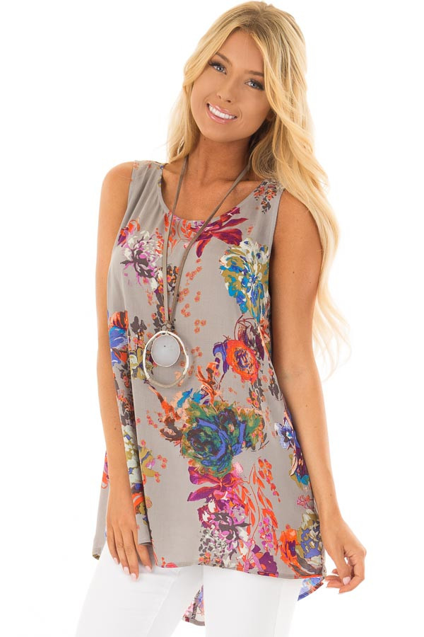 Grey Floral Print Round Neck Tank Top with Keyhole Detail front closeup