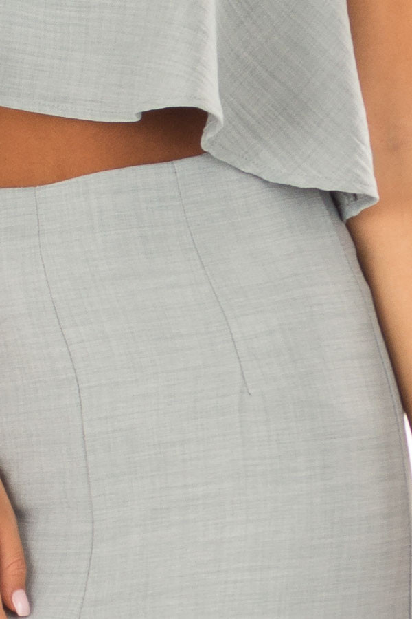 Blue Sage Bandeau Top and Capri Bottom Two Piece Outfit front detail