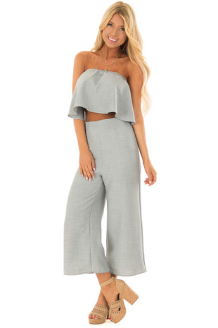 Blue Sage Bandeau Top and Capri Bottom Two Piece Outfit front full body