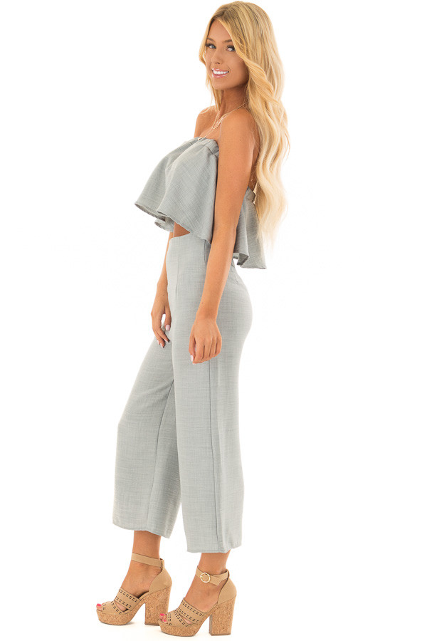 Blue Sage Bandeau Top and Capri Bottom Two Piece Outfit side full body