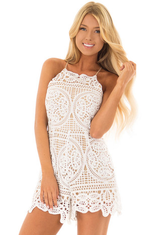White Detailed Lace Romper with Nude Lining front closeup
