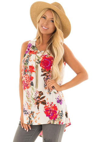 Ivory Floral Print Round Neck Tank Top with Keyhole Detail front closeup