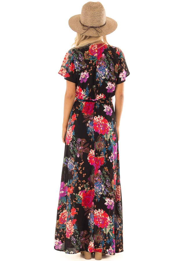 Black Floral Short Sleeve Maxi Dress with Waist Tie Detail back full body