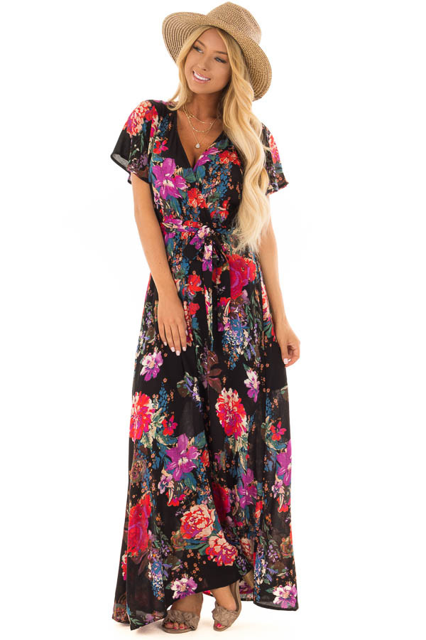 Black Floral Short Sleeve Maxi Dress with Waist Tie Detail front full body