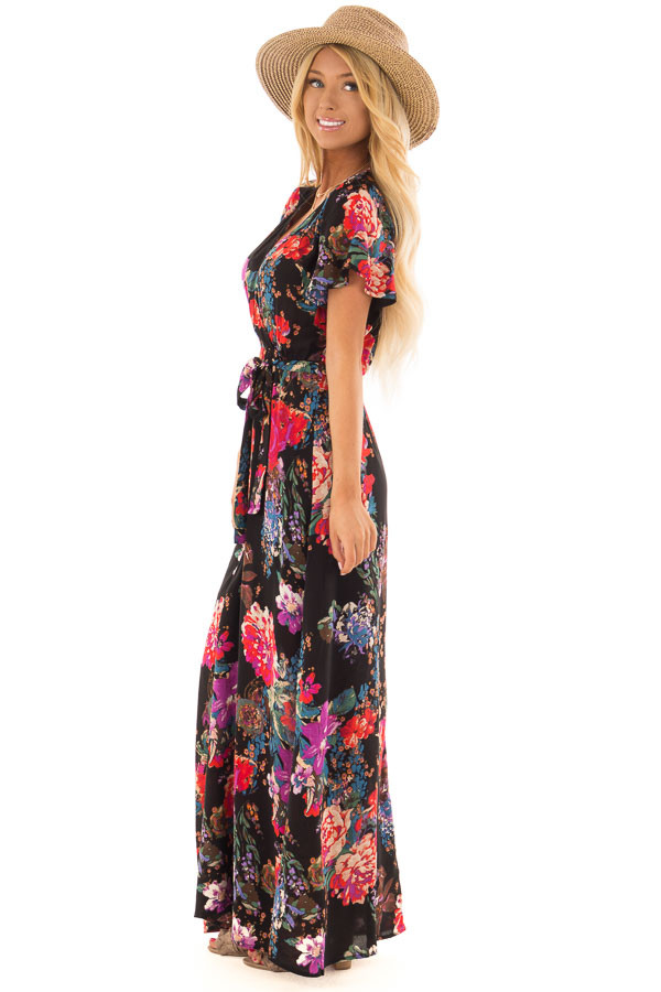 Black Floral Short Sleeve Maxi Dress with Waist Tie Detail side full body