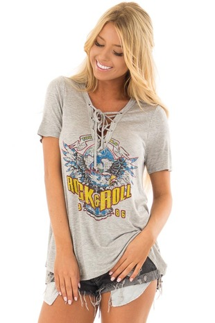 Cloud Grey 'Rock and Roll' Graphic Tee with Lace Up Neckline front closeup