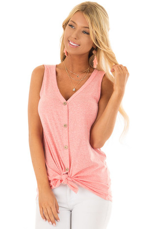 Watermelon Pink Button Down Tank Top with Front Tie front closeup