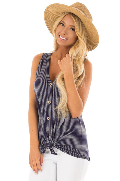 Navy and Ivory Striped Button Down Tank Top with Front Tie front closeup