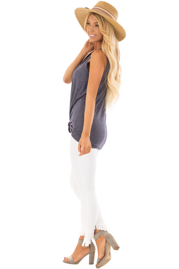 Navy and Ivory Striped Button Down Tank Top with Front Tie side full body