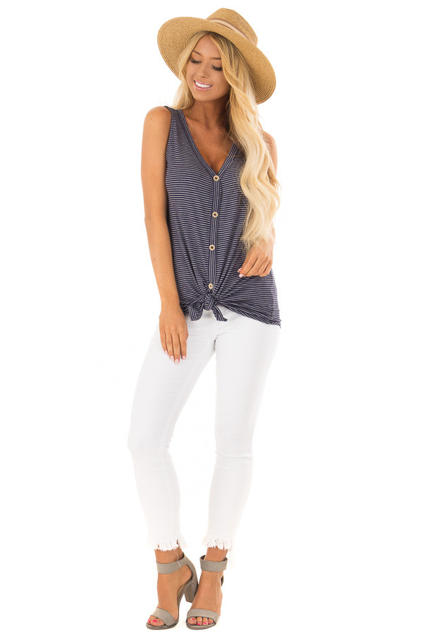 Navy and Ivory Striped Button Down Tank Top with Front Tie front full body