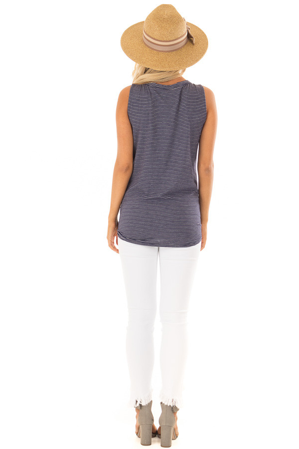 Navy and Ivory Striped Button Down Tank Top with Front Tie back full body