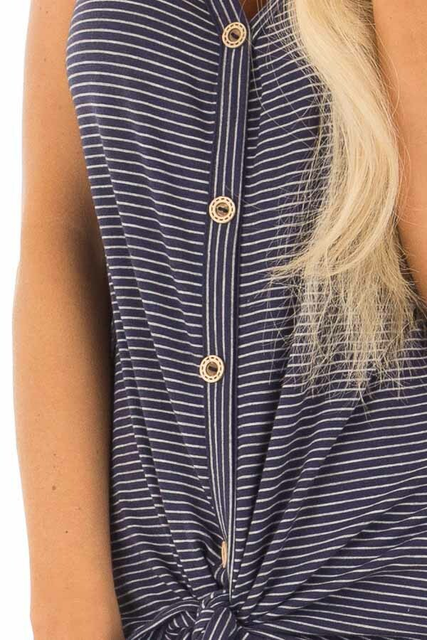 Navy and Ivory Striped Button Down Tank Top with Front Tie front detail