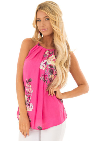 Fuchsia Floral Print Gathered Tank Top with Button Up Back front closeup