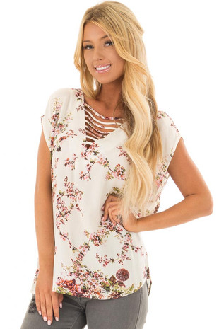 Ivory Floral Print Cap Sleeve Top with Ladder Neckline front closeup