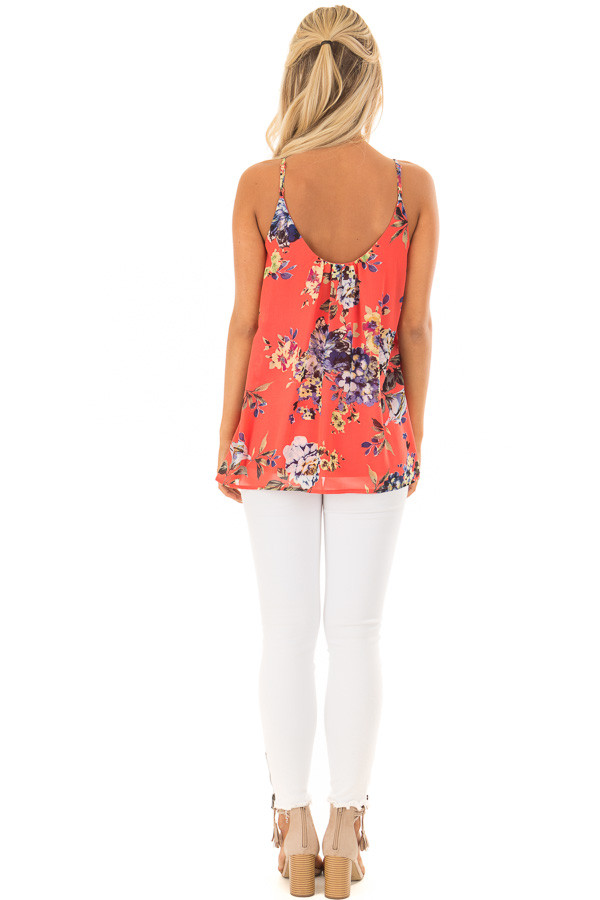 Coral Floral Spaghetti Strap Tank Top with Pleated Front back full body