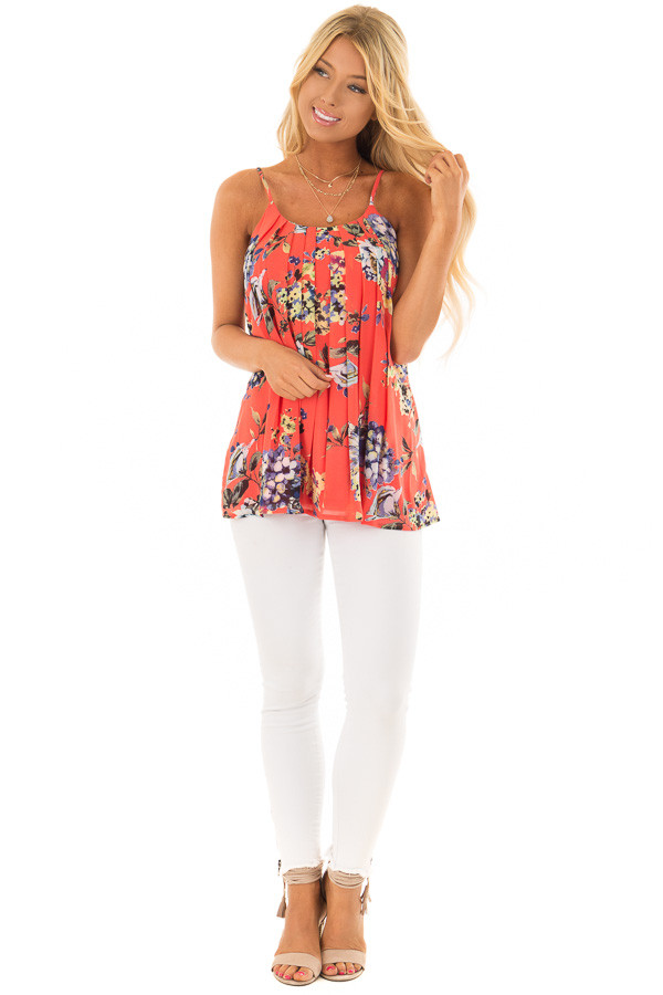 Coral Floral Spaghetti Strap Tank Top with Pleated Front front full body