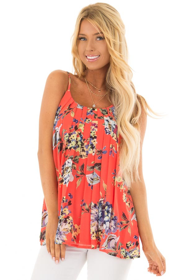 Coral Floral Spaghetti Strap Tank Top with Pleated Front front closeup