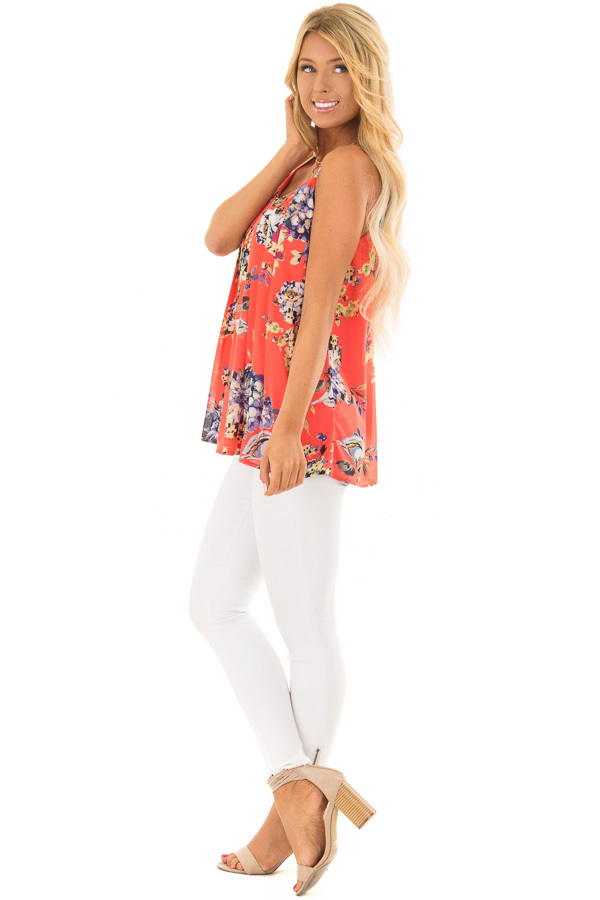 Coral Floral Spaghetti Strap Tank Top with Pleated Front side full body