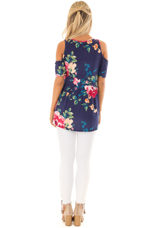 Navy Floral Cold Shoulder Top with Short Sleeves back full body