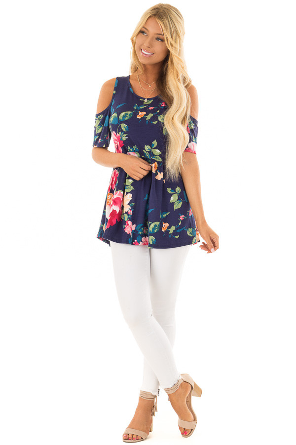 Navy Floral Cold Shoulder Top with Short Sleeves front full body