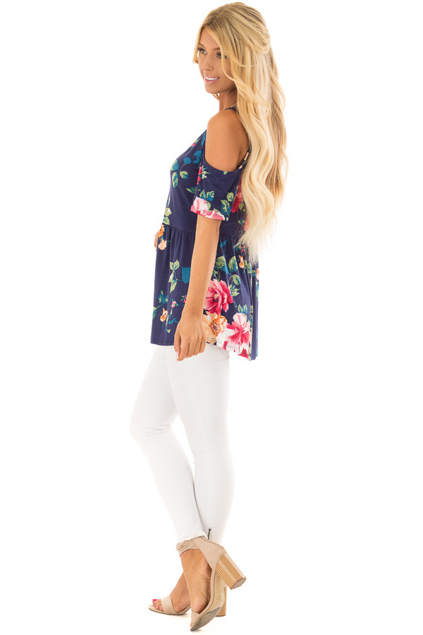Navy Floral Cold Shoulder Top with Short Sleeves side full body