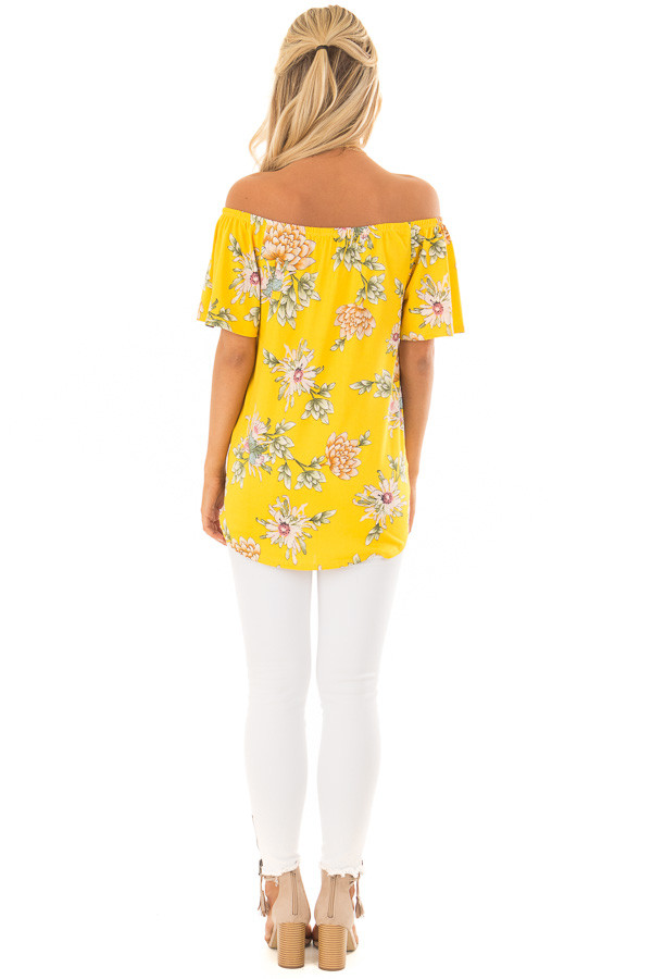Golden Yellow Floral Off the Shoulder Top with Front Tie back full body