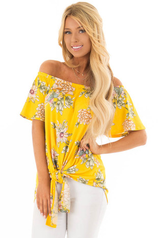 Golden Yellow Floral Off the Shoulder Top with Front Tie front closeup