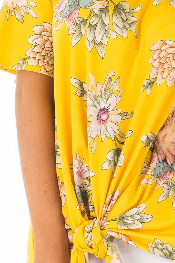 Golden Yellow Floral Off the Shoulder Top with Front Tie front detail