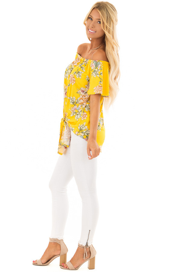 Golden Yellow Floral Off the Shoulder Top with Front Tie side full body