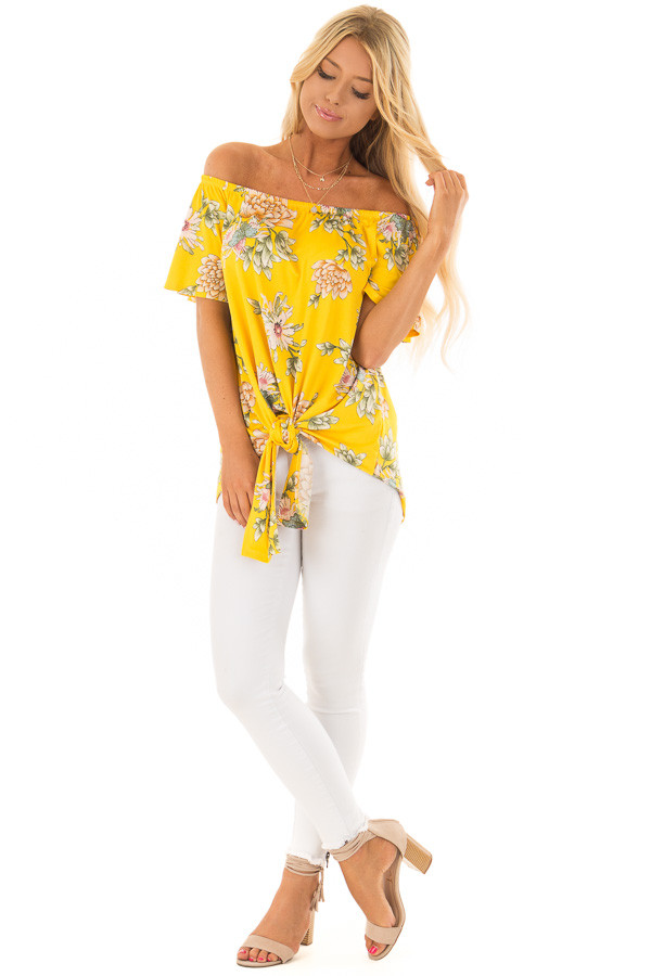 Golden Yellow Floral Off the Shoulder Top with Front Tie front full body