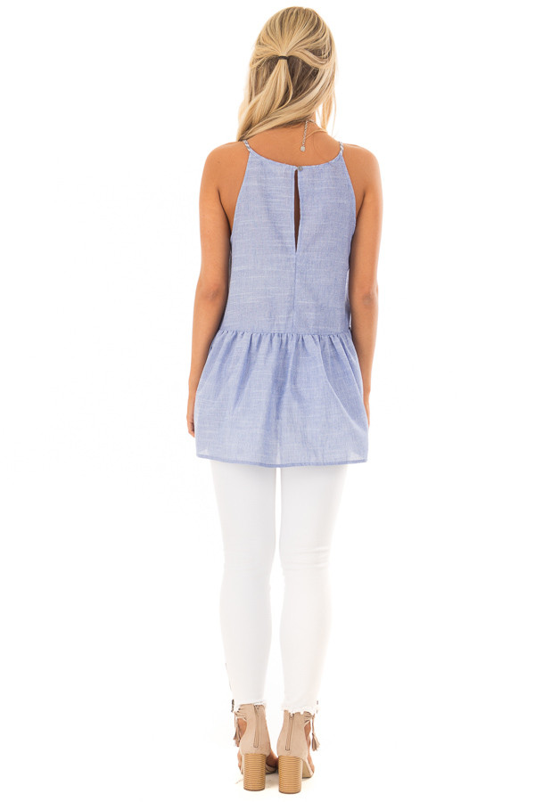 Chambray Peplum Tank Top Back with Keyhole Detail back full body