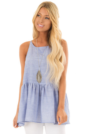 Chambray Peplum Tank Top Back with Keyhole Detail front closeup