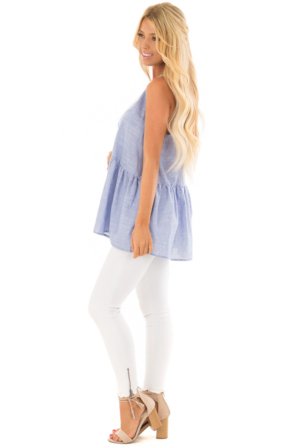 Chambray Peplum Tank Top Back with Keyhole Detail side full body