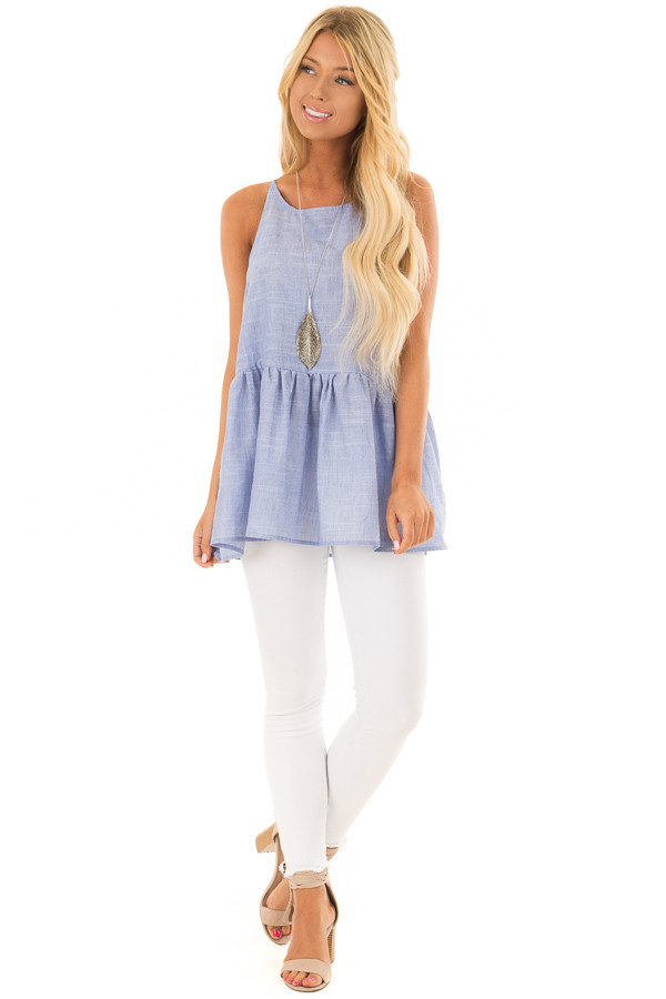 Chambray Peplum Tank Top Back with Keyhole Detail front full body