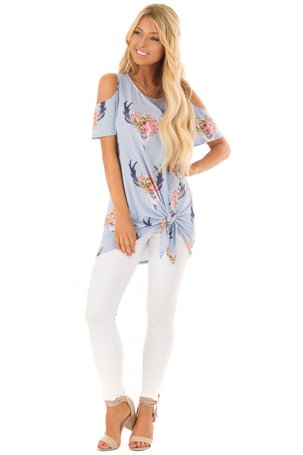 Sky Blue Bull Horn Print Open Shoulder Top with Tie Detail front full body