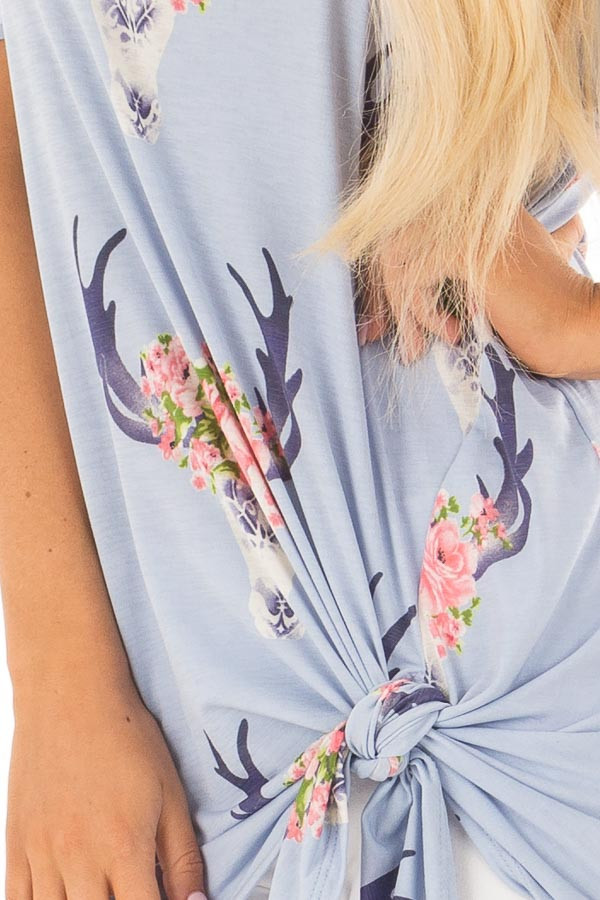 Sky Blue Bull Horn Print Open Shoulder Top with Tie Detail front detail