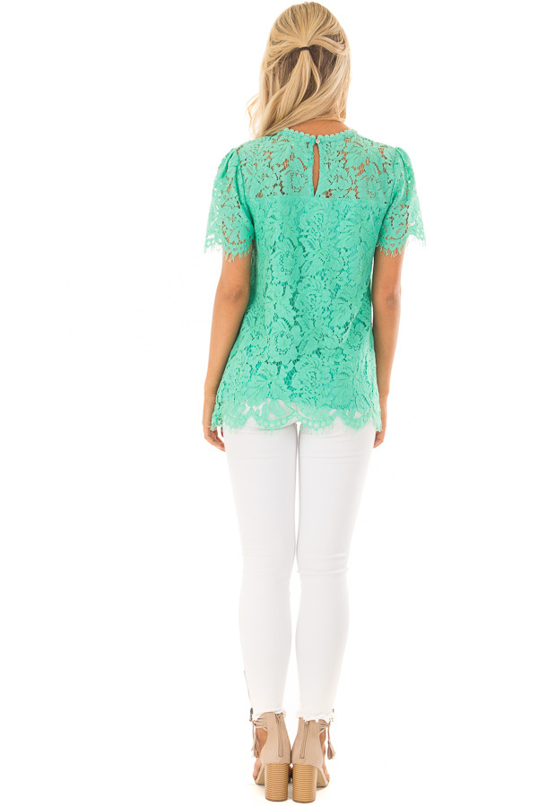Emerald Short Sleeve Lace Top With Scalloped Hem back full body