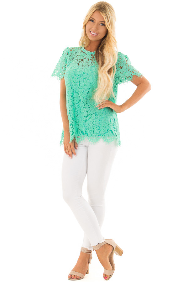 Emerald Short Sleeve Lace Top With Scalloped Hem front full body