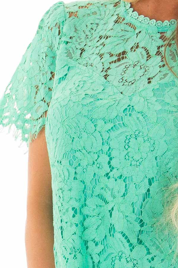 Emerald Short Sleeve Lace Top With Scalloped Hem front detail