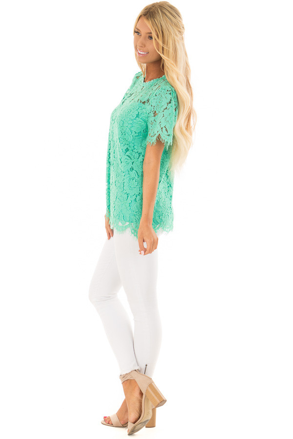 Emerald Short Sleeve Lace Top With Scalloped Hem side full body