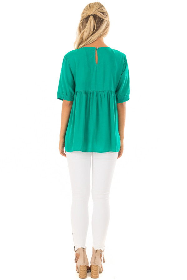 Jade Short Sleeve Floral Embroidered Top with Keyhole Detail back full body