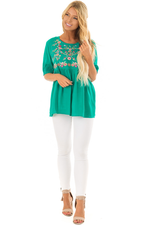Jade Short Sleeve Floral Embroidered Top with Keyhole Detail front full body