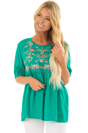 Jade Short Sleeve Floral Embroidered Top with Keyhole Detail front closeup